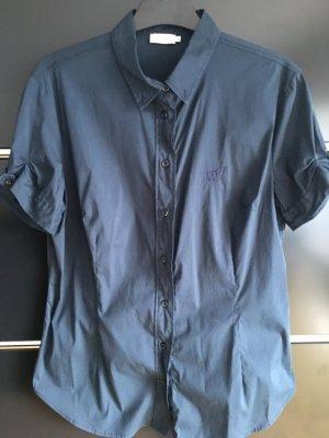 Kurzarm Bluse in dunkelblau