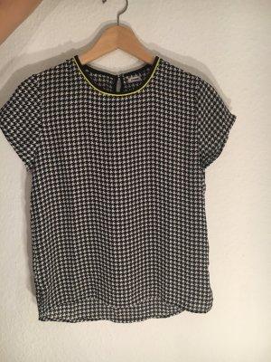 Kurzarm Bluse in schwarz / weiß