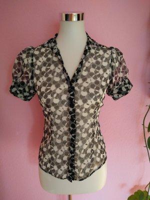 Kurzarm-Bluse in schwarz/weiß (K4)