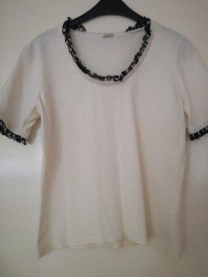 Jobis Ruche blouse wit-zwart Katoen