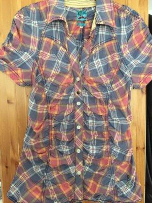 Kurzarm-Bluse karriert von Khujo in Größe XL