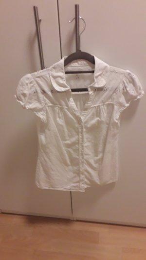 Kurzarm Bluse mit Loch-Blumenmuster, Bluse, shirt