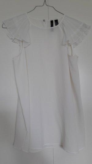 Kurzarm-Bluse mit plissierten Ärmeln weiß Gr. XS