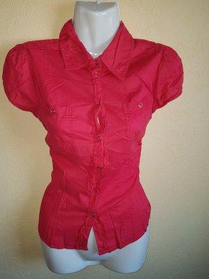 kurzarm Bluse rot figurbetont Größe 36/S