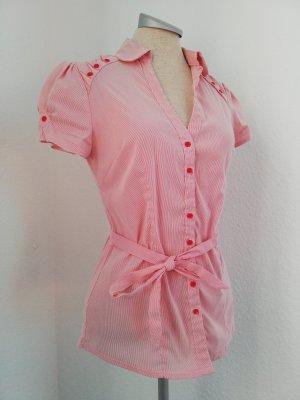 kurzarm Bluse rot weiß Gr. S 36 neu Baumwolle Rockabilly