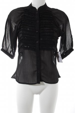 Kurzarm-Bluse schwarz Elegant