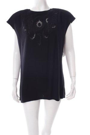 Kurzarm-Bluse schwarz florales Muster schlichter Stil