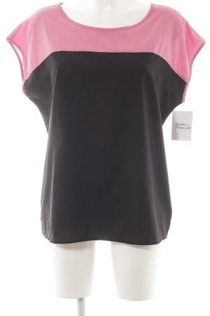 Kurzarm-Bluse schwarz-rosa Casual-Look