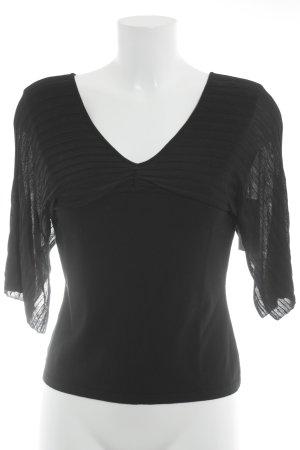 Blouse à manches courtes noir motif rayé élégant