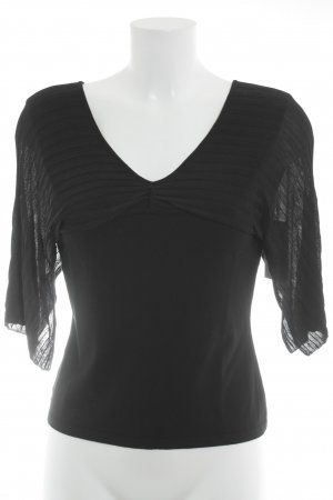 Kurzarm-Bluse schwarz Streifenmuster Elegant