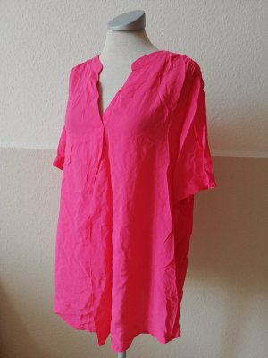 kurzarm Bluse Top Oberteil pink gerafft V Ausschnitt Gr. 46 neu