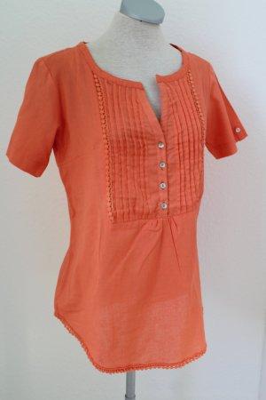 Blusa de lino naranja neón-naranja oscuro Lino
