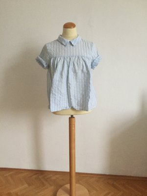 Zara Blouse à manches courtes blanc-bleu azur