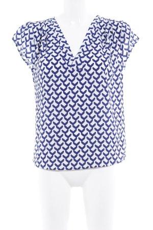 Kurzarm-Bluse weiß-blau abstraktes Muster Casual-Look