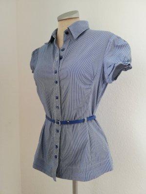 kurzarm Bluse weiß Blau gestreift Streifen tailliert Gr. 36 S Orsay