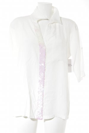 Kurzarm-Bluse weiß-pink Casual-Look