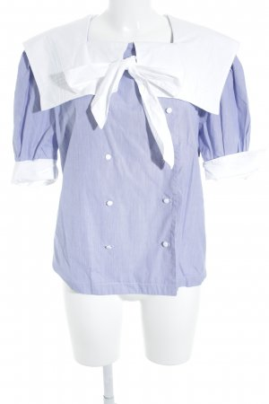 Kurzarm-Bluse weiß-stahlblau Streifenmuster Marine-Look