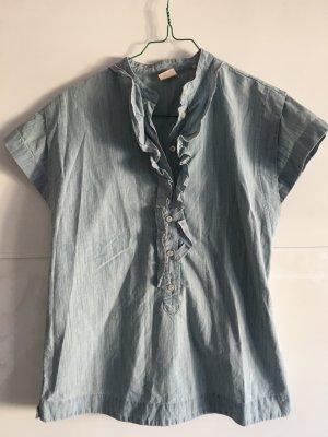 Kurzarm Hemd mit Rüschen von BOSS Orange im Denim-Look