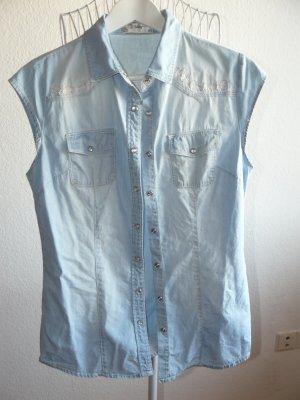 Kurzarm Jeansbluse von Voulez Vouz mit  Stickereien, Größe S