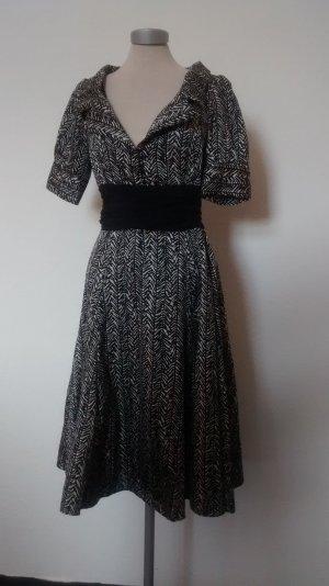 kurzarm Kleid knielang retro schwarz weiß Gr. L Zara Rockabilly