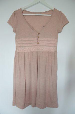 Kurzarm Kleid mit Spitze - S . Zart Rosa