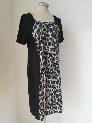 kurzarm Kleid Shirtkleid kurz Gr. 42 L XL Minikleid Leo Leopard grau schwarz neu gothic Rockabilly
