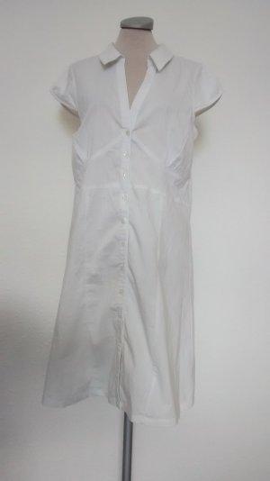 kurzarm Kleid weiß Hemdkleid Paprika Gr. L 40 42 Kittelkleid knielang