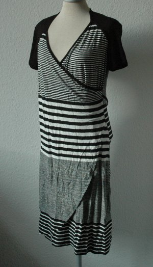 kurzarm Kleid Wickeloptik schwarz weiß gestreift Gr. 38 M neu Viscose