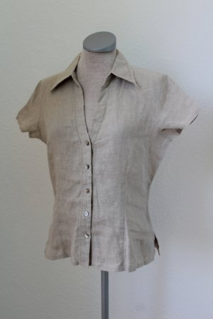 Kurzarm Leinen Bluse Top Oberteil Gr. UK 10 EUR 38 Marks & Spencer