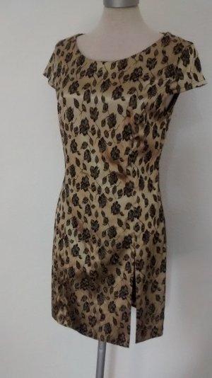 kurzarm Minikleid gold schwarz Satin Gr. 36 S Rosen Kleid kurz mini