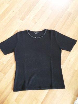 Kurzarm Pulli mit Pailletten am Ausschnitt, Gr. 38, schwarz