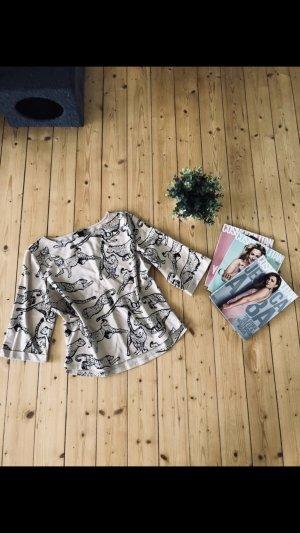 H&M Jersey de manga corta blanco puro-marrón-negro