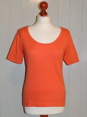 Heine Short Sleeve Sweater neon orange mixture fibre