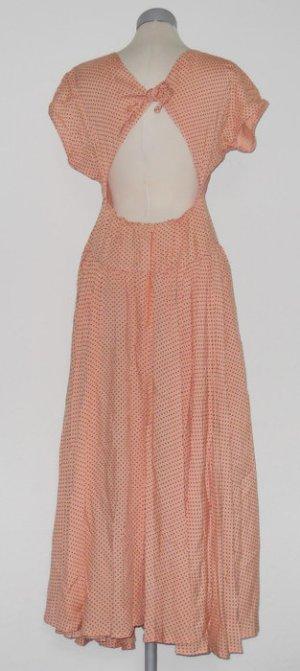 kurzarm retro Maxikleid Kleid polkadots Punkte rückenfrei Gr. 38 S M Rockabilly
