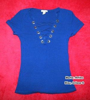 Amisu V-hals shirt blauw