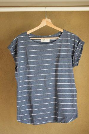 Wemoto Gestreept shirt staalblauw-wit Katoen