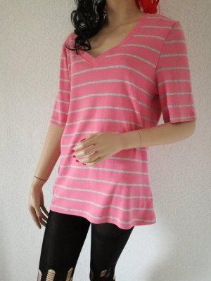 Kurzarm Shirt gestreift T-Shirt Streifen V-Ausschnitt