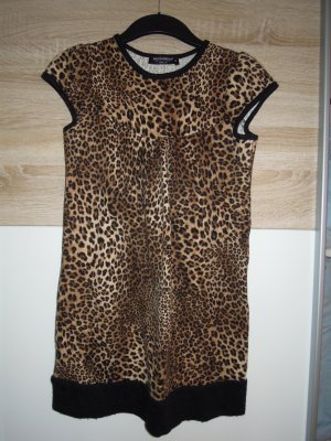 Kurzarm Shirt Longshirt Rinascimento Gr. S Leo Animal Print braun schwarz beige Longpullover