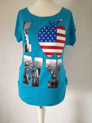 Kurzarm Shirt NY Longshirt T-Shirt Print