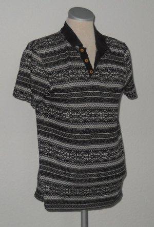 kurzarm Shirt Polohemd River Island gemustert grau schwarz weiß Gr. XS 34