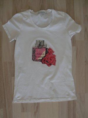 Kurzarm- Shirt T-Shirt Bluhmod weiß Gr. 36 Glitzer Steinchen