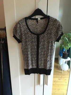 H&M Boléro en tricot noir-chameau tissu mixte