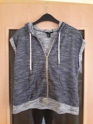 H&M Gebreid jack met korte mouwen wit-donkerblauw