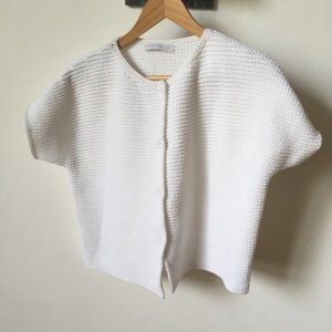 Fabiana Filippi Short Sleeve Knitted Jacket natural white-white cotton
