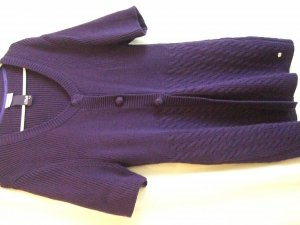 Street One Short Sleeve Knitted Jacket purple cotton