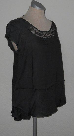 kurzarm Top Oberteil Shirt Spitze antrazit grau Gr. 38 S M Vokuhila gothic