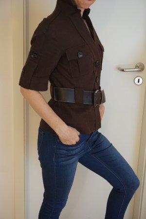 Kurzarmblazer, Bluse von Zara aus Leinen mit Gürtel braun Gr. S neuwertig NP 49€