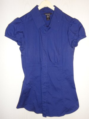 Kurzarmbluse in lila/blau Gr. XS