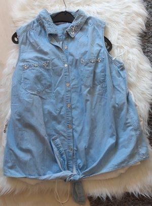 C&A Mouwloze blouse korenblauw