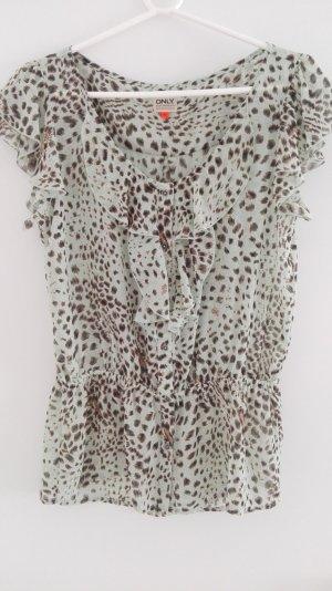 Kurzarmbluse lindgrün mit Leopardendruck von Only